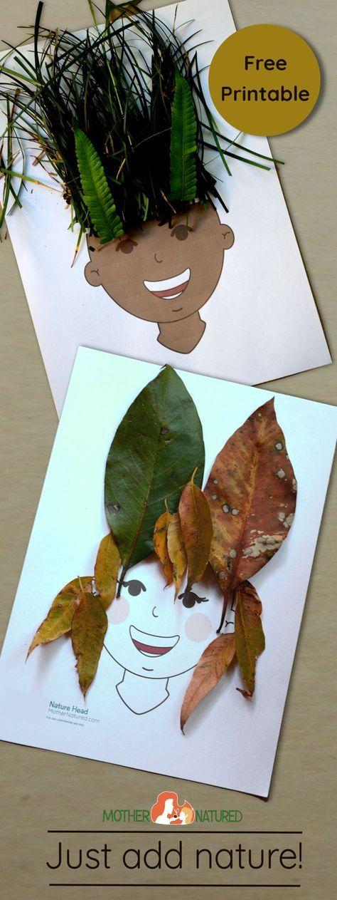 Mit Naturmaterialien wie Laub und Gräser lustige Frisuren zaubern. Basteln mit Kindern im Herbst. Printable