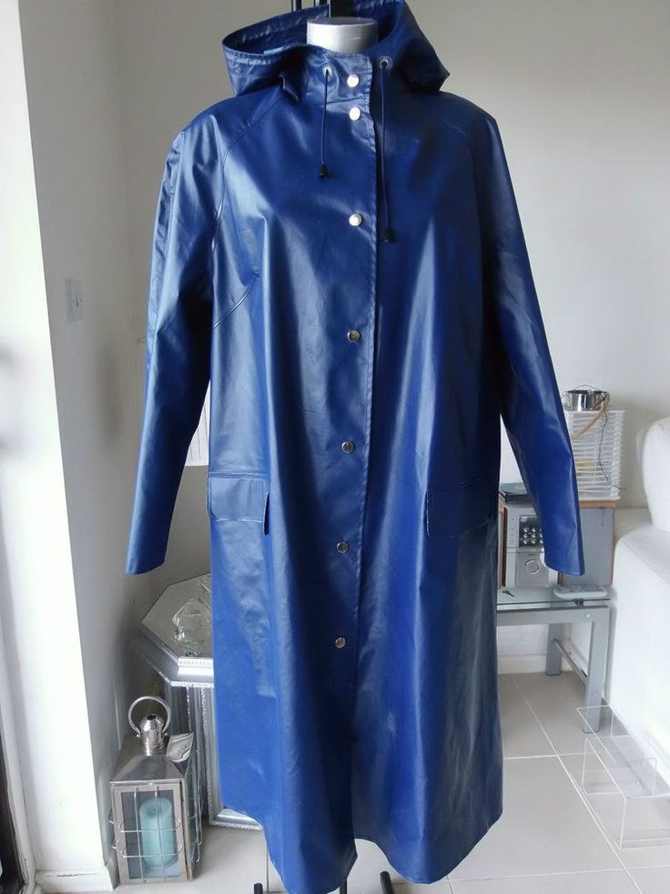 Vintage Shiny 70 S Rukka Raincoat Pvc Mac Vinyl Rubber