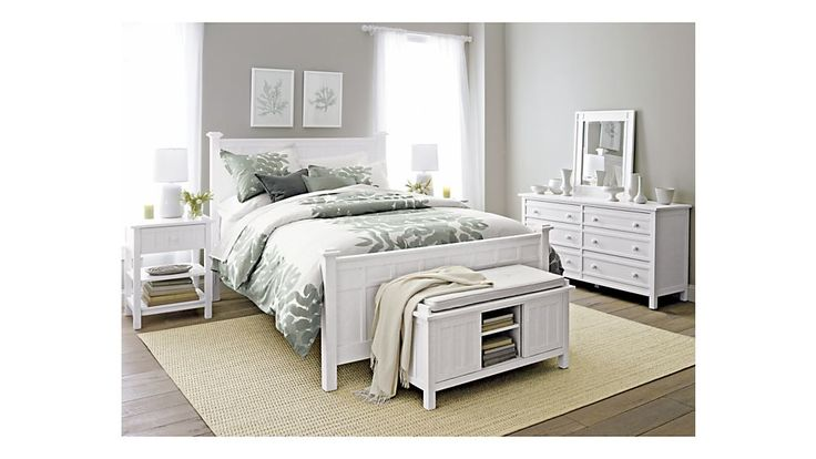 Brighton White Queen Bed | Crate and Barrel