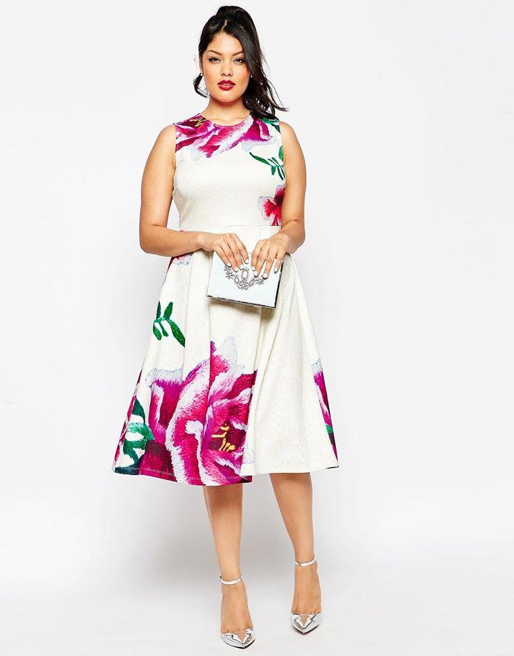 Immagine 4 di ASOS CURVE - Vestito longuette a pieghe con fiori grandi