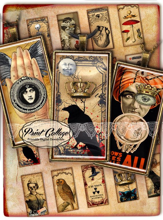 Check out Victorian Goth - Digital Collage Sheet 1 x 2 inches Domino Pendants Printable images Jewelry Backgrounds D214 on printcollage