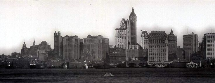 New York Architecture Images- black and white new york Downtown skyline with Singer building 1910