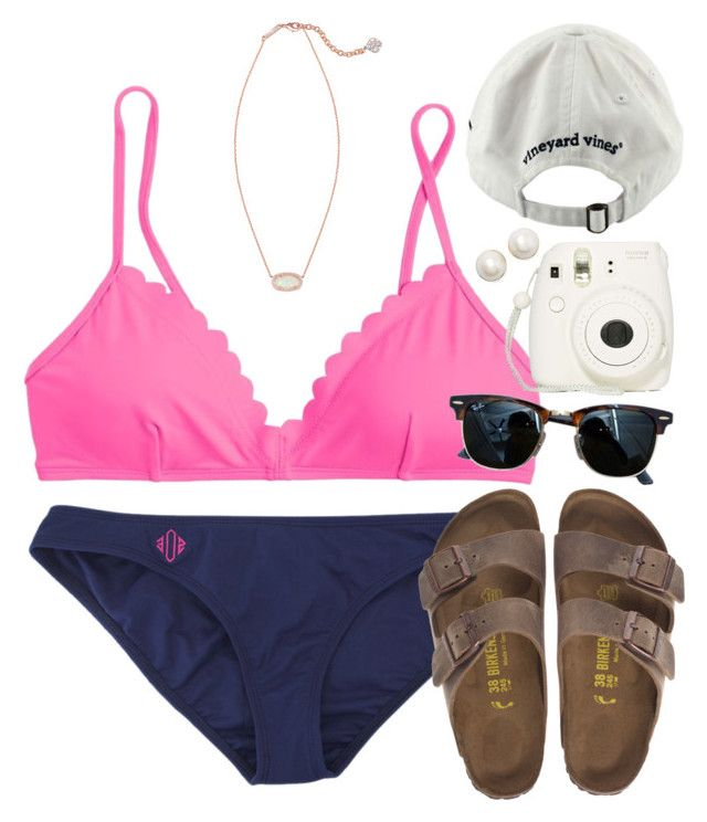 """ready for days @ the lake☀️⚓️"" by rob-17 ❤ liked on Polyvore featuring J.Crew, Birkenstock, Kendra Scott, Ray-Ban, Kate Spade and Vineyard Vines"
