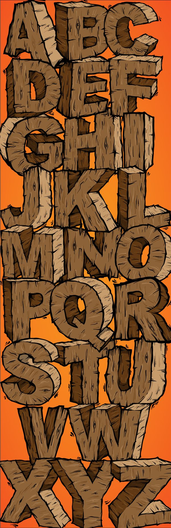wooden alphabet by SkNk DSGN, via Behance