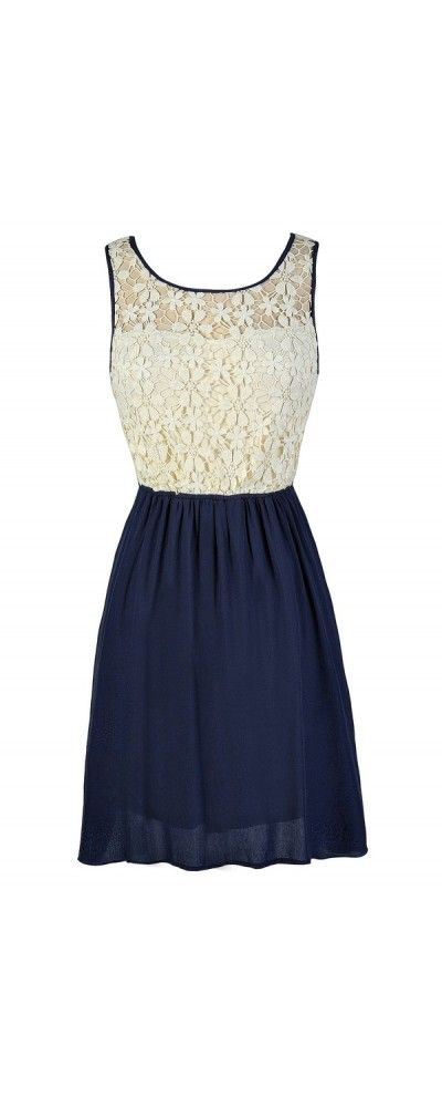 Flower Chain Crochet Lace Dress in Navy