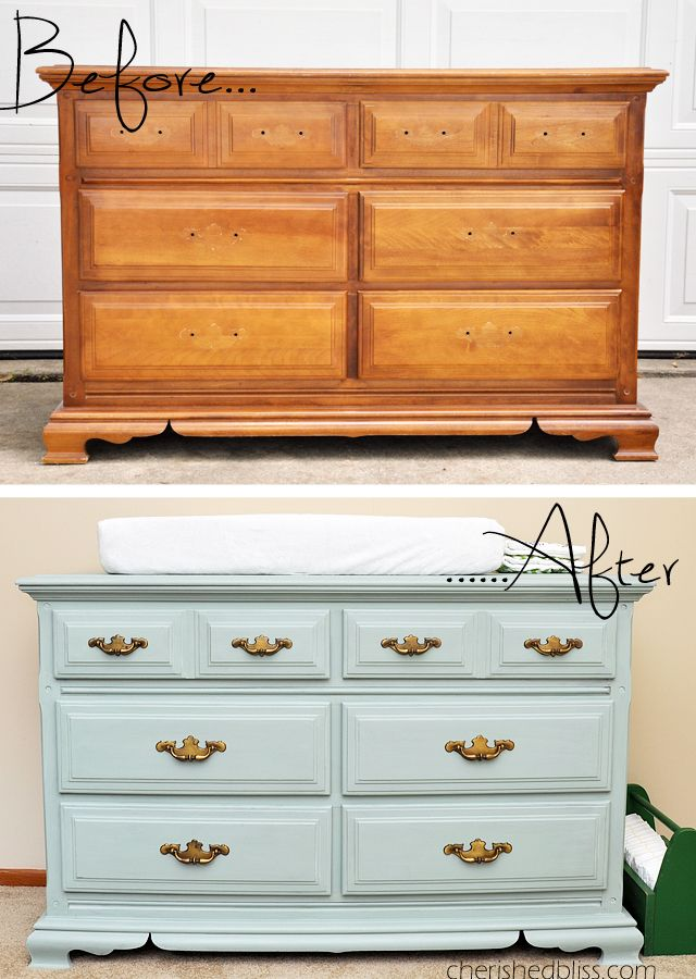 How to Paint a dresser with Maison Blanche Chalk Paint, and get a clean vintage look. Tutorial via cherishedbliss.com