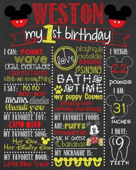 Mickey Mouse Birthday Chalkboard / Boy Birthday by LetsGetChalky