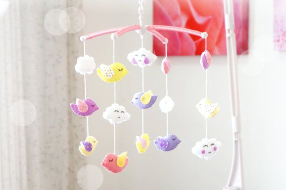 Birds and Clouds Musical Cot Mobile Crib Baby Mobile by LajjaDecor