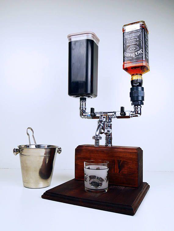 Dispensador de alcohol de madera hecho a mano mezclador /