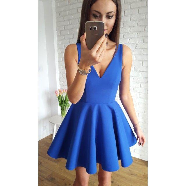 Short V Neck Royal Blue Homecoming Dress Part