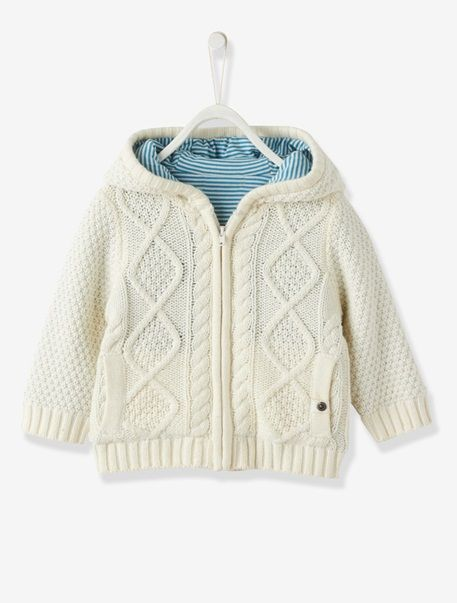 Baby Boys Lined Hooded Cardigan Off-white+Storm grey