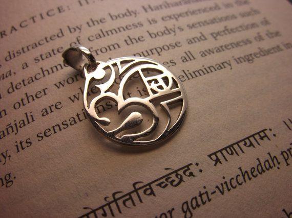 Om Pendant Fibonacci Spiral Necklace Handmade Plain Silver Sterling Silver Artisan Design Golden Ratio Sectio Aurea Crown Chakra Aum Jewel