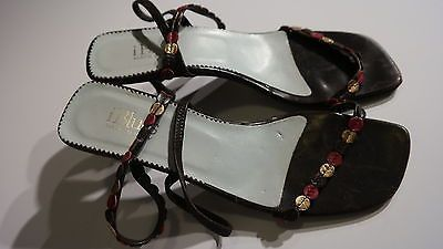 "IBLUES STRAPPY WOMEN'S LEATHER SANDALS SIZE 7 1/2"" BLACK"