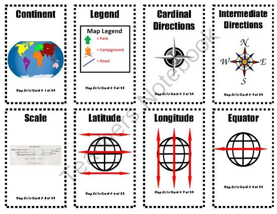 map skills vocabulary flashcards from common core and more on 6 pages. Black Bedroom Furniture Sets. Home Design Ideas