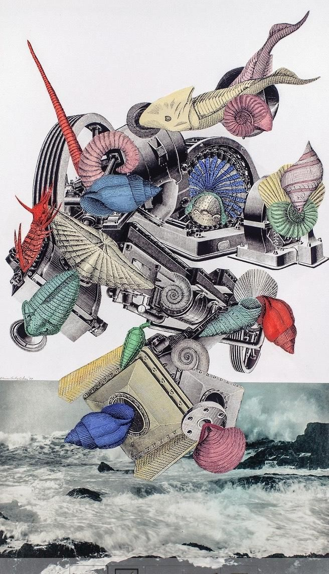 "RT @SllabStudios: Wow! Elaine Lustig Cohen, 1999. ""Sea Machine"" -  mixed media #collage. http://www.ebay.com/itm/201021825009 …"