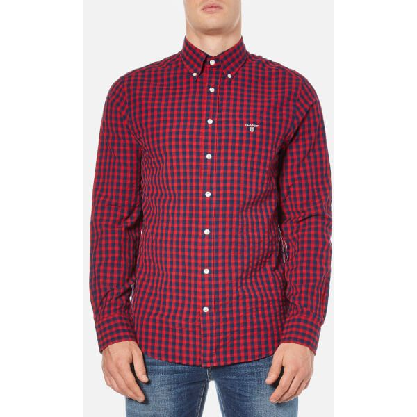 GANT Men's Gingham Seersucker Shirt - Thunder Red (270 ILS) ❤ liked on Polyvore featuring men's fashion, men's clothing, men's shirts, men's casual shirts, red, mens red checked shirt, mens gingham shirt, mens long sleeve casual shirts and mens button down collar shirts