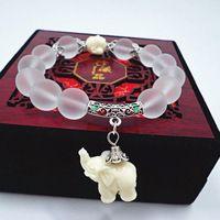 Cristallo naturale Borda I Braccialetti Per Le Donne 2016 di Modo Della Lega D'argento Elephant Charm Bracciali Braccialetti Femme