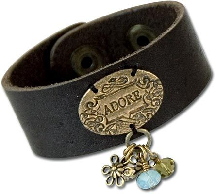Adore Leather Bracelet - with a handmade metal clay decoration on a ready to embellish leather cuff.