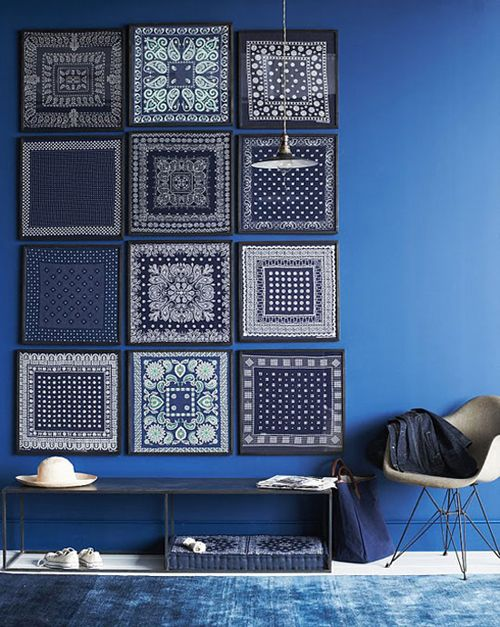 Indigo. Love the framed patterns
