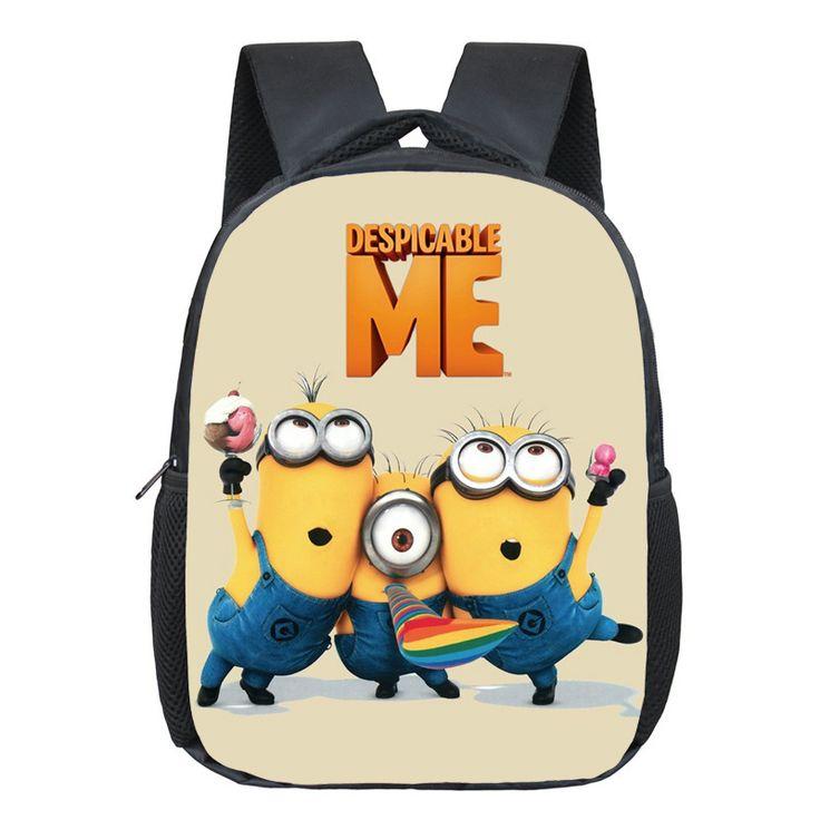 12 Inch Cartoon Minions School Backpack Schoolbags For Girls Boys Cool School Bags Children Bookbag Kindergarten Daily Backpack