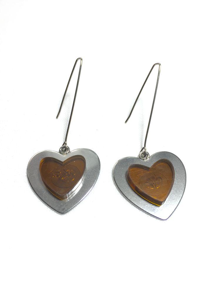 Brown Heart Long Earrings