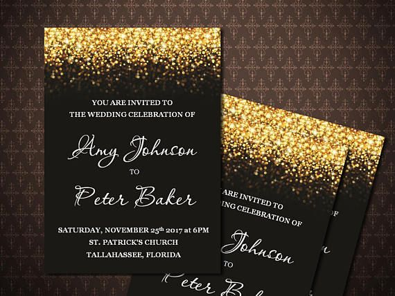 Black Gold Glitter Wedding Invitation Black And Gold Etsy Glitter Wedding Invitations Wedding Invitations Glitter Gold Black Gold Wedding