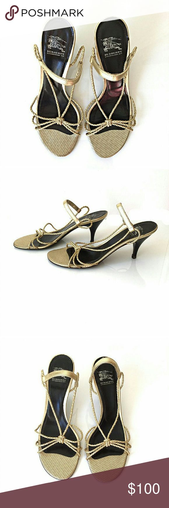 Burberry Metallic Gold Strappy Heels Gorgeous gold kitten heels! In good condition Wear on the sole and heel.  Some creases on insole from wear. Size 39. US equivalent 9. Ships within one day Burberry Shoes Heels