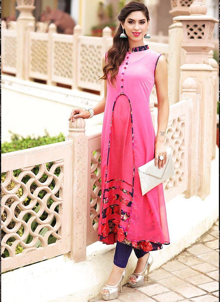 Perfect Pink Georgette Long Kurti