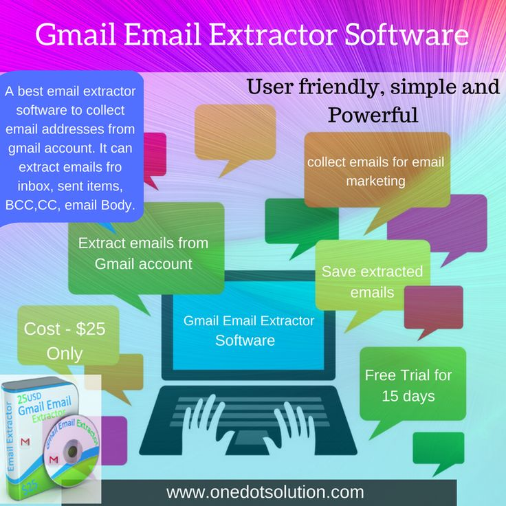 Looking for email collector software? Try gmail email extractor and collect millions of email addresses from your gmail accounts. It can extract emails from your gmail account's  inbox, sent items, CC, BCC, email body, personal folders etc. #emailcollector #software #emailmarketing #emaildatabase