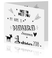 Hip en lief typografisch kaartje voor meisje