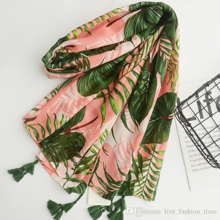 New Cotton Print Leaves Scarves Women Beach Towel Scarf