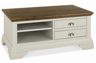 Hampstead Soft Grey & Walnut Coffee Table with 2 drawers and open storage.