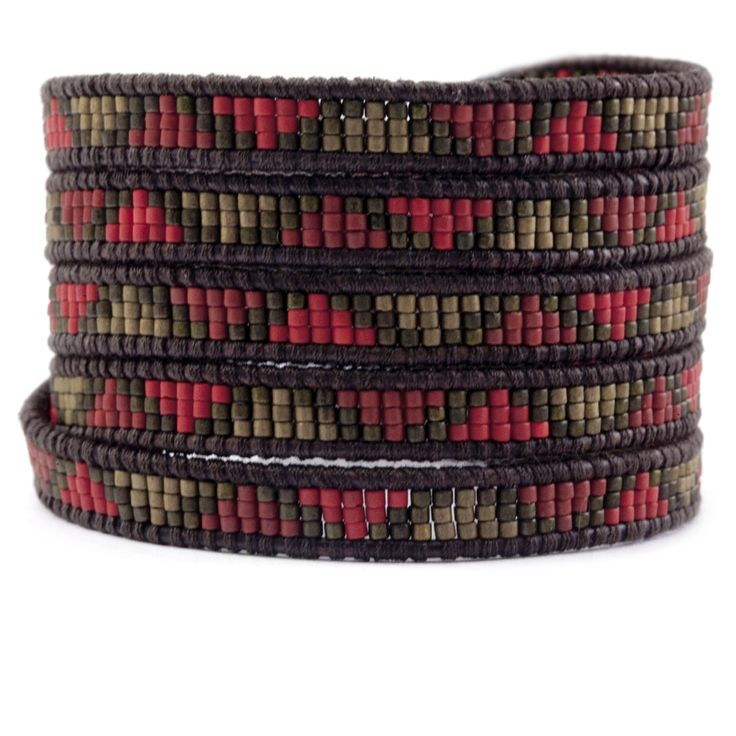 Chan Luu - Red Mix Beaded Wrap Bracelet on Natural Dark Brown Leather, $210.00 (http://www.chanluu.com/mens-wrap-bracelets/red-mix-beaded-wrap-bracelet-on-natural-dark-brown-leather/)
