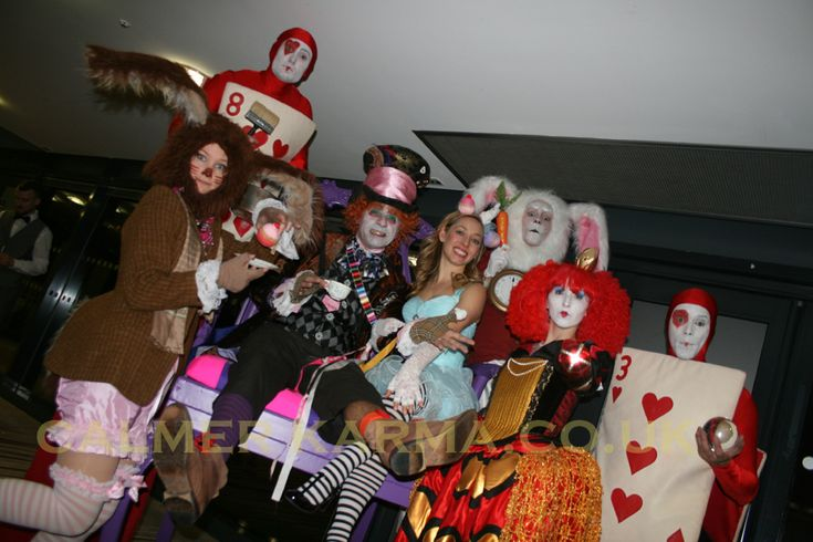 Alice in Wonderland themed characters to hire including: Mad March Hare, Mad Hatter MC, Red Queen lookalike, Red Cards walkabout, Red Cards stilt, Red cards crystal ball juggler, White Rabbit on stilts and Alice. Manchester to London to Brighton.