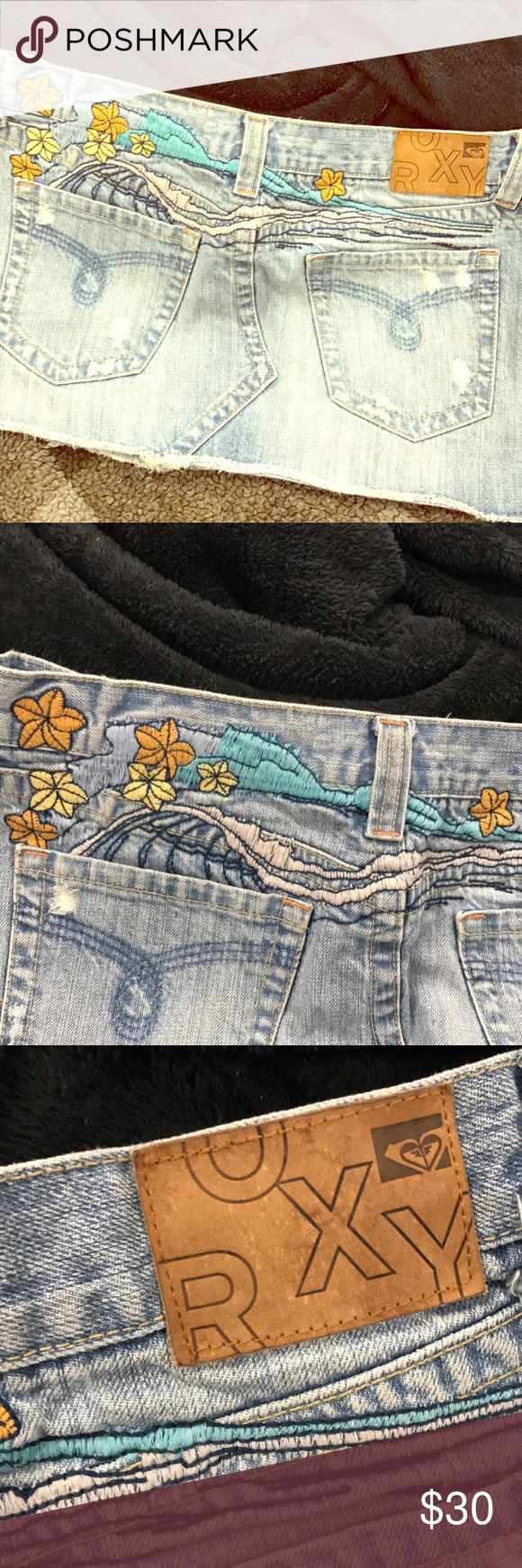 Roxy embroidered jean skirt Beach themed! Super cute! Distressed Jean skirt. Worn a few times, lots of life left! No visible wear! Roxy Skirts Mini
