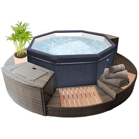 Spa Semi Rigide Netspa Octopus 4 6 Places Avec Mobilier Sp Oct165 Mob2 Spa Portable Spa Gonflable Spa