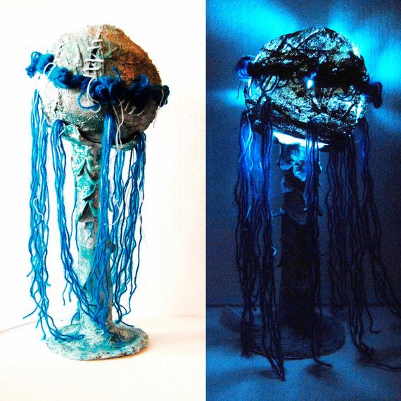 Jellyfish Night lamp, Handmade light sculpture, Paper mache lamp, Unique Lamp, ocean decor, navy decor, Fairy lamp, Kids room, magical decor