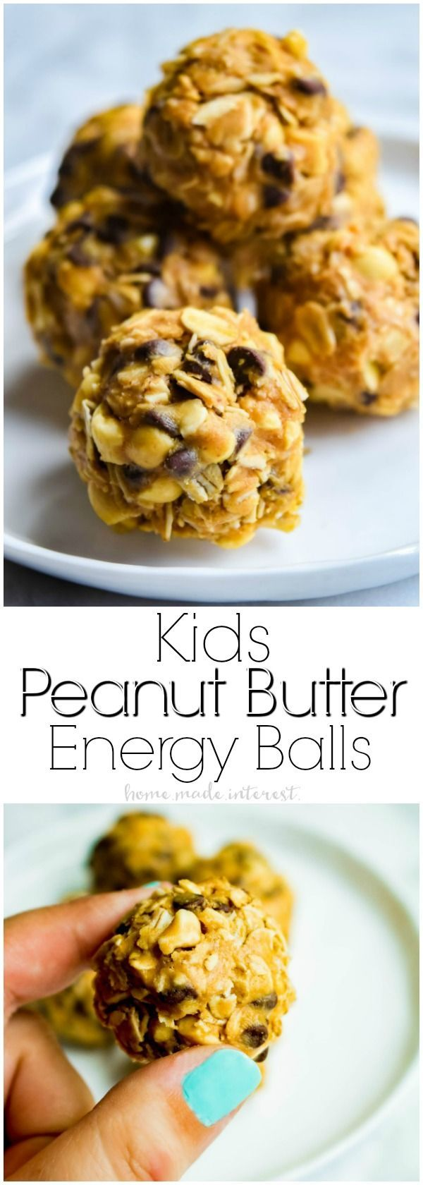 Peanut Butter Energy Balls | If your kids play sports you're probably always looking for healthy snack for sports. These easy peanut butter energy balls are packed full of protein and a few delicious chocolate chips to help keep your kid's energy up when they play sports. This healthy snack recipe for kids will keep the whole team happy! AD