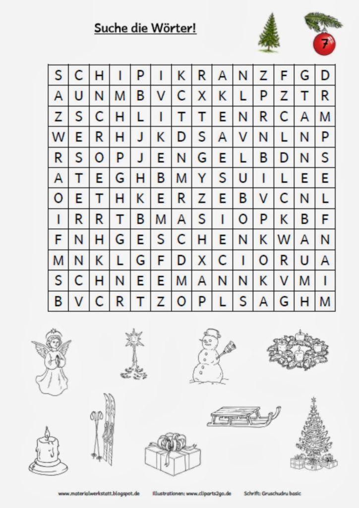 weihnachtswerkstatt  materialwerkstatt  rätsel zum
