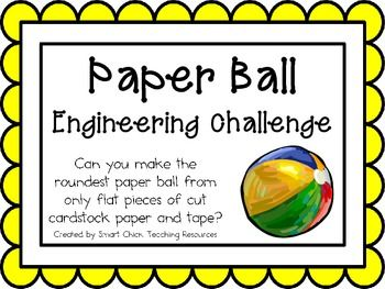 Make a Paper Ball: Engineering Challenge Project ~ Great STEM activity!  Can you make the roundest paper ball from only flat pieces of cardstock paper and tape?  $