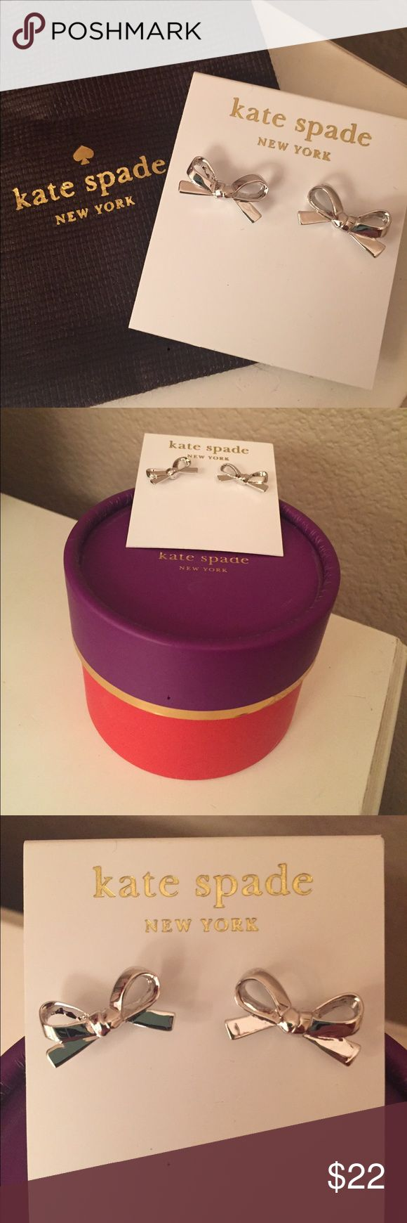 Kate Spade Bow Earrings in Silver Adorable Kate Spade bow earrings, never worn! Comes with gift box. 14K gold fill. Kate Spade Jewelry Earrings