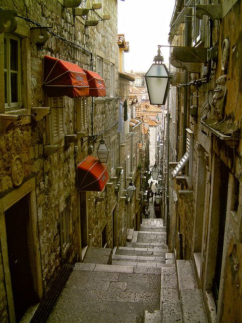 a narrow street in Dubrovnik, Croatia