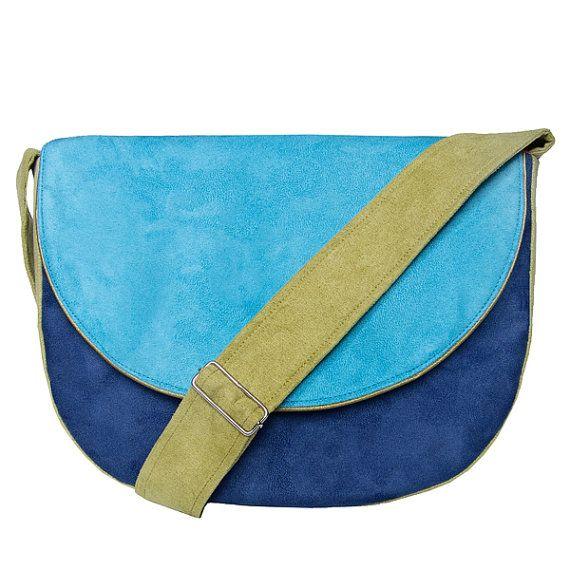 MIDI series  navy blue / turquoise / green messenger by bandabag