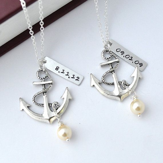 I so want this!!    Personalized antique anchor necklace keepsake by myjewelrystory, $20.00