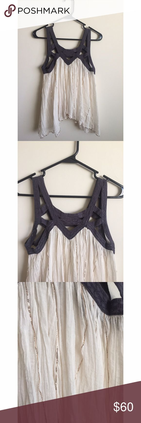 Free People tank top Deep purple strappy top with gold tinsel. Only worn once. Off white color Free People Tops Tank Tops