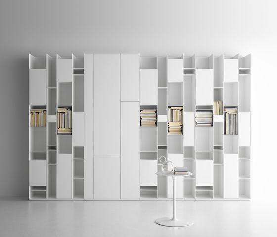 White minimalist modern design shelving systems from mdf for Rangement maison minimaliste