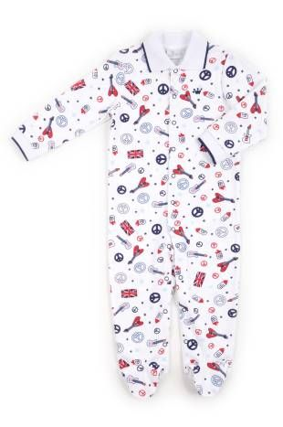 Pijama tipo mono, para bebe niño, con estampados del signo de la paz en azul oscuro y rojo.