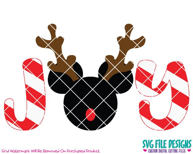 Mickey Mouse Joy Reindeer SVG Cut File Set in SVG EPS DXF JPEG and PNG Format for Cricut, Silhouette, and Brother ScanNCut