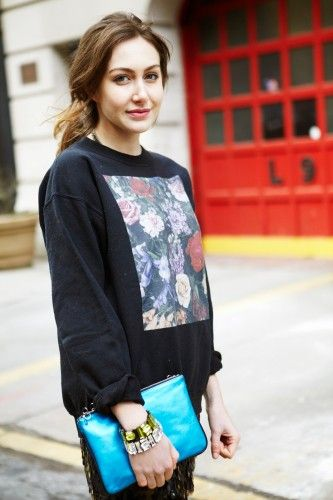 Sweatshirt chic: embellish a plain sweatshirt with an interesting fabric and pair it with a sparkle skirt
