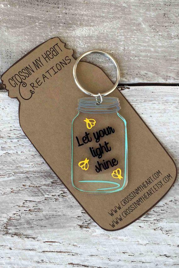 Mason Jar Keychain  Fireflies  Let your light by CrossinMyHeart